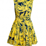 HM Yellow Patterned Circle-skirt Dress