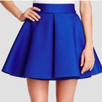 Bloomingdales AQUA Skirt Electric Blue Inverted Pleat Flared