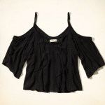 Hollister Black Cold Shoulder Lace Peasant Top