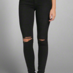A&F ALYSSA SUPER SKINNY DESTROYED RIPPED HIGH RISE JEANS