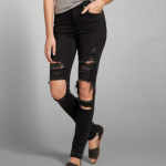 A&F PREMIUM HIGH RISE SUPER SKINNY DESTROYED RIPPED BLACK JEANS