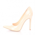 AMI Clubwear Nude Pointed Toe Single Sole Pump Heels Patent