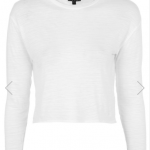 Topshop White LONG SLEEVE SLUBBY CROP TOP