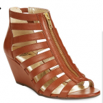 Macys Brown Cognac Material Girl Harper Zip Up Wedge Sandals