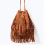 Zara Brown Leather Fringed suede bucket bag