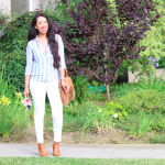 Pink Flowers and Blue Stripes - Fourth of July Outfit Ideas