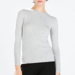 Zara Rayon sweater with buttoned cuff