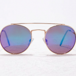 Forever 21 Gold Blue Mirrored Round Sunglasses