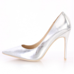 AMI Clubwear Silver Pointed Closed Toe Sexy Single Sole Pump Heels Metallic Faux Leather