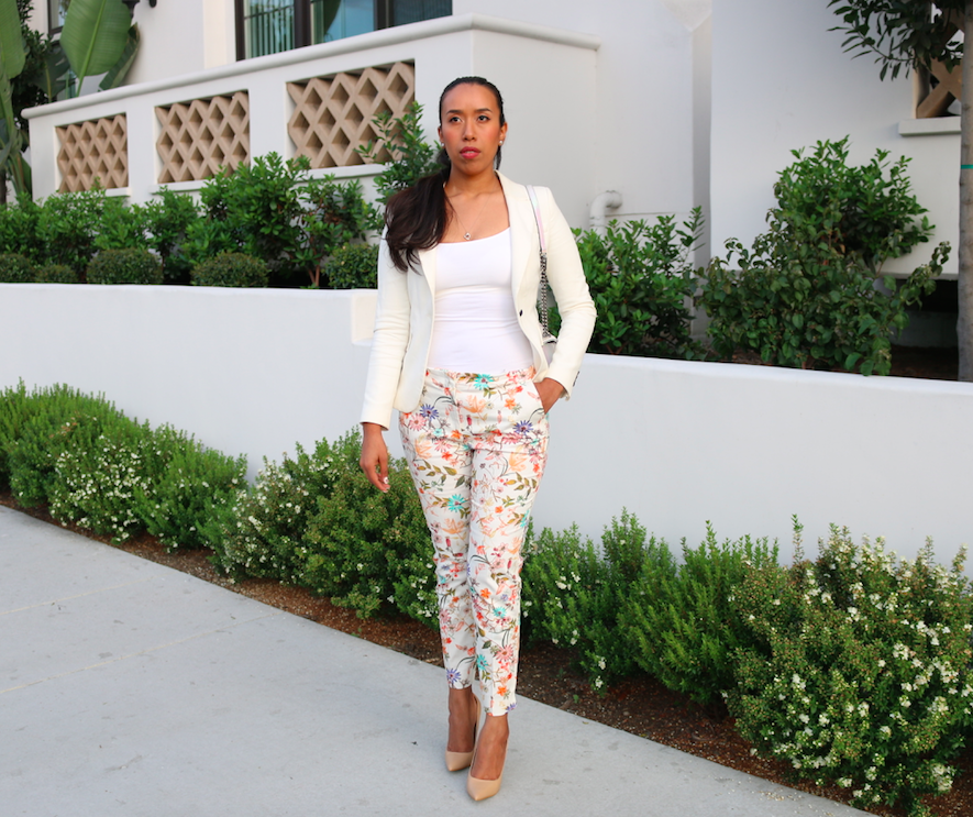 Summer Suit - Printed pants and white blazer outfit