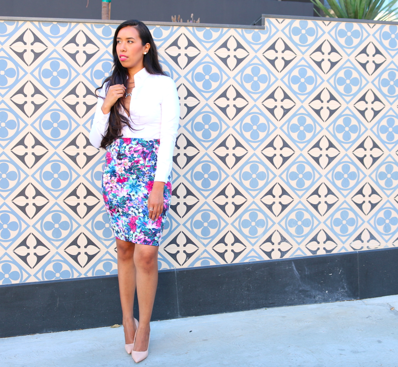 Colorful Work Outfit Floral Pencil Skirt and Dressy White Button Down Shirt Look