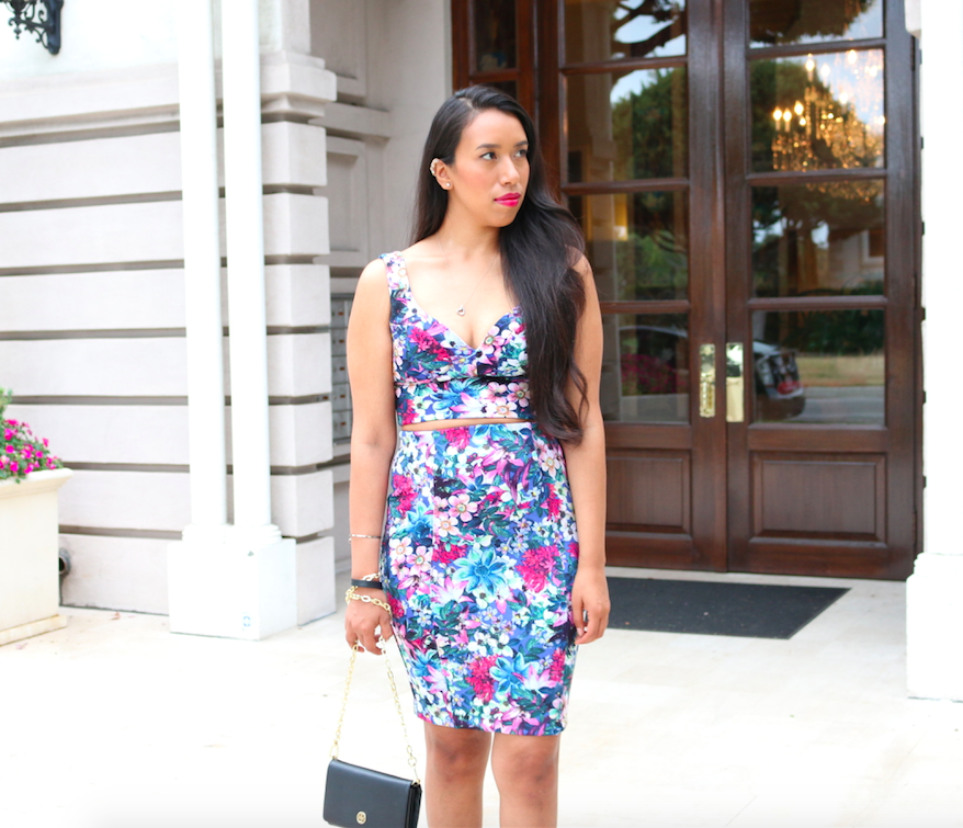 Floral Print Two Piece Set Pencil Skirt and Crop Top