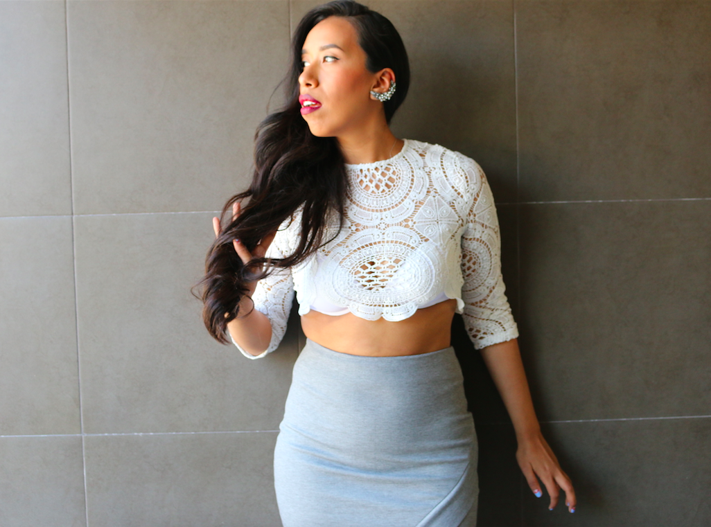 Here Comes Trouble - Night Out Look Crochet Top Grey Pencil Skirt