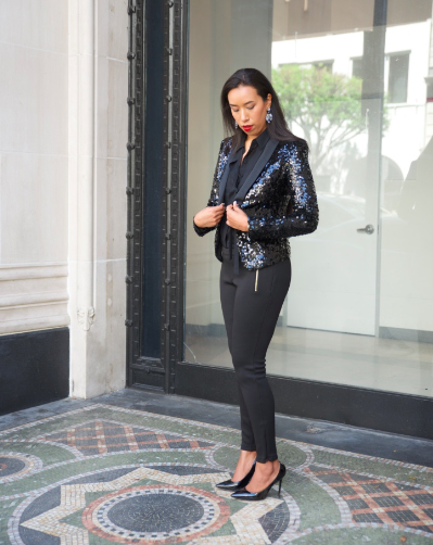 All Black with a Hint of Sparkle - Black on Black Outfit Sequined Blazer and Black Pant Look