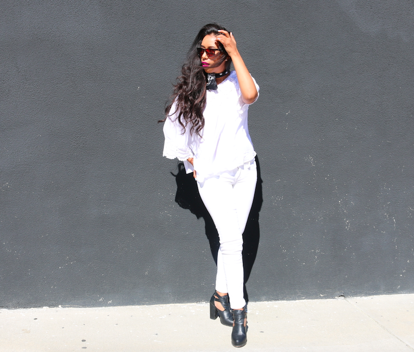 High Contrast - All White Look off shoulder top and black bandana outfit
