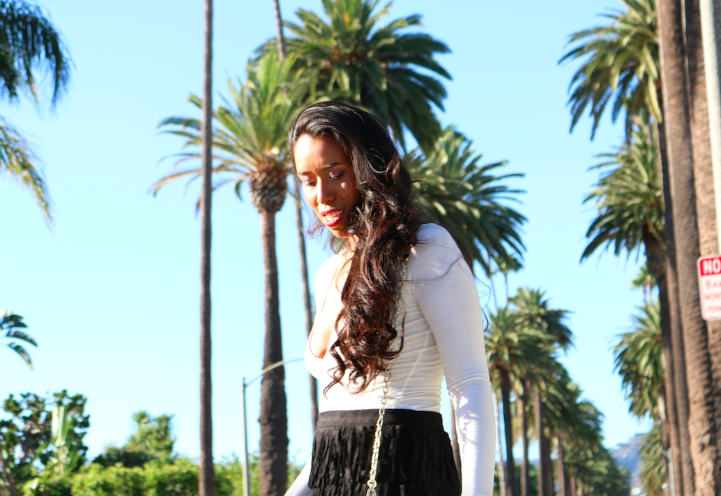 Palm Trees and Fringe - Black Fringe Mini Skirt Low V neck top outfit