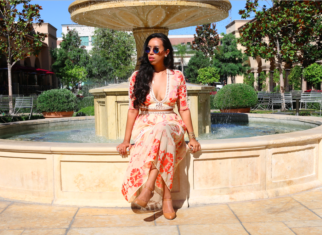 Hot Summer Days in Barcelona - For Love and Lemons Orange Floral Print Barcelona Crop Top Midi Skirt Set Perfect Summer Outfit Look