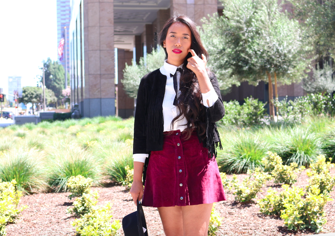 A touch of marsala - Casual look wearing a button up skirt modern outfit