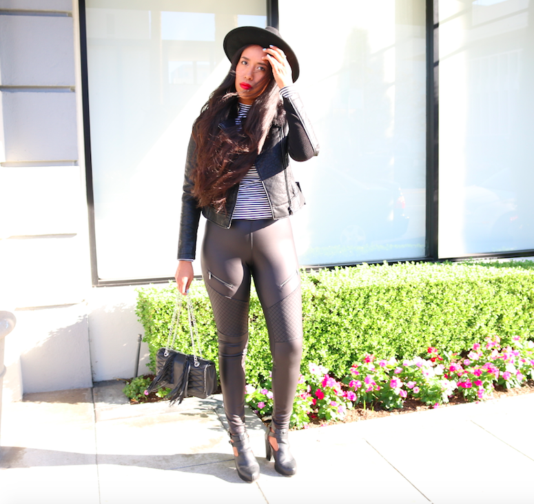 Skin Tight Faux Leather -Black leggings, striped top, and hat look outfit