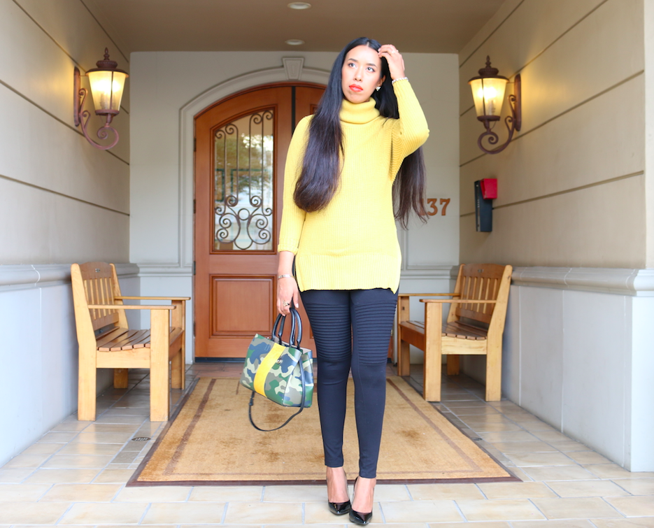 Mellow Yellow - Chunky Knit Sweater and Moto Leggings