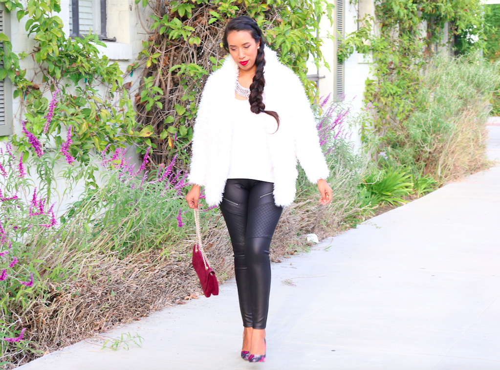 Cookie Lyon - Outfit wearing a Shaggy Sweater and Faux Leather Moto Zipper Leggings