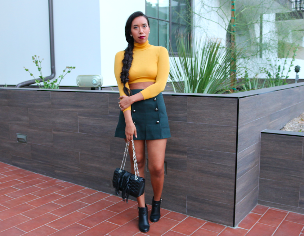 More and More Buttons - Green Sailor Buttoned Mini Skirt and Yellow Turtleneck Everyday Outfit Look