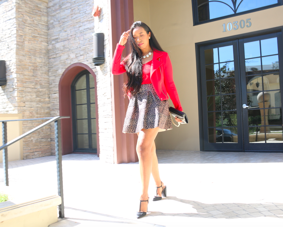 Match Made in Leopard Dreams - Casual Business Look Red Moto Jacket and Leopard Skater Skirt Outfit