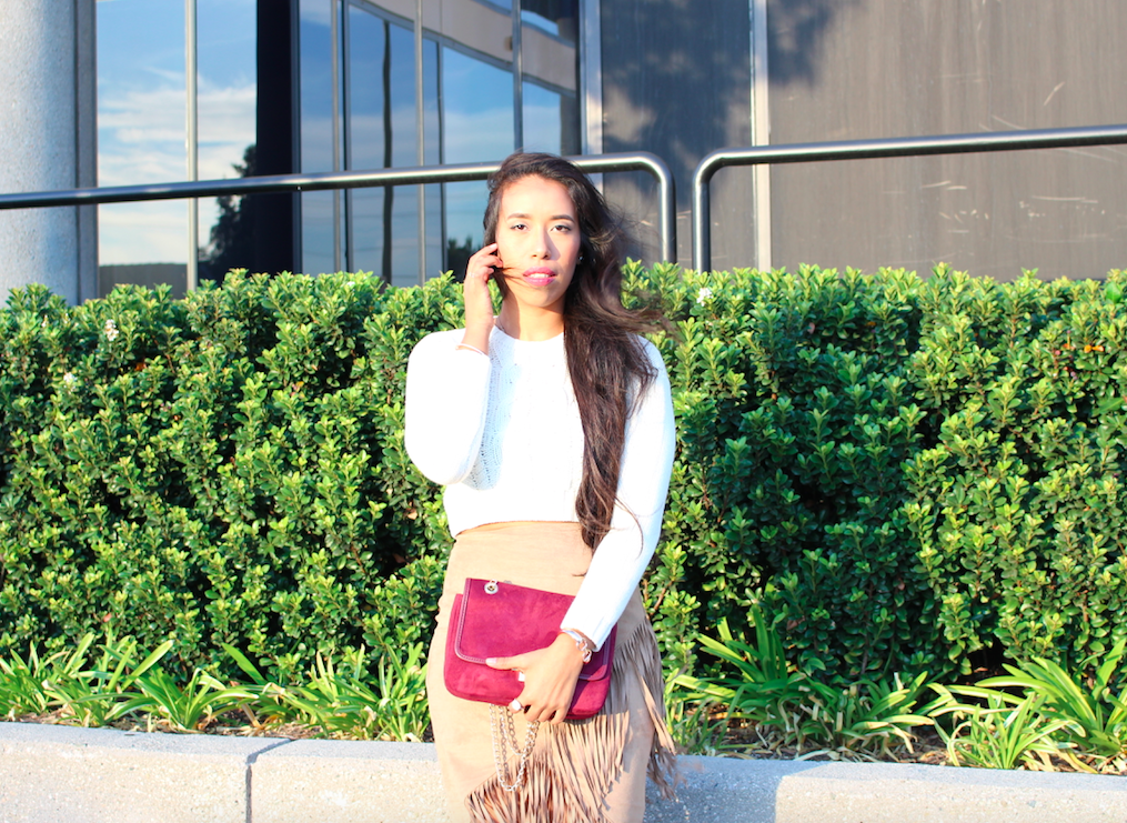 Fringe Coziness - Suede Fringe Skirt and Cream Crop Knit Sweater Outfit