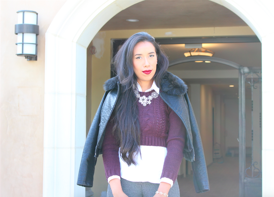 It's Starting to Feel Like Fall - Modern Business Look wearing a Purple Crop Knit Sweater