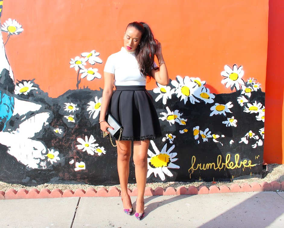 Wake Up and Smell the Roses - Black and White Look Monochromatic Outfit Black Scuba Skirt Embellished White Turtleneck