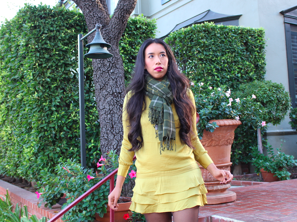 Slipping into Something Pretty and Bright - Yellow Ruffled Dress and a Plaid Green Scarf