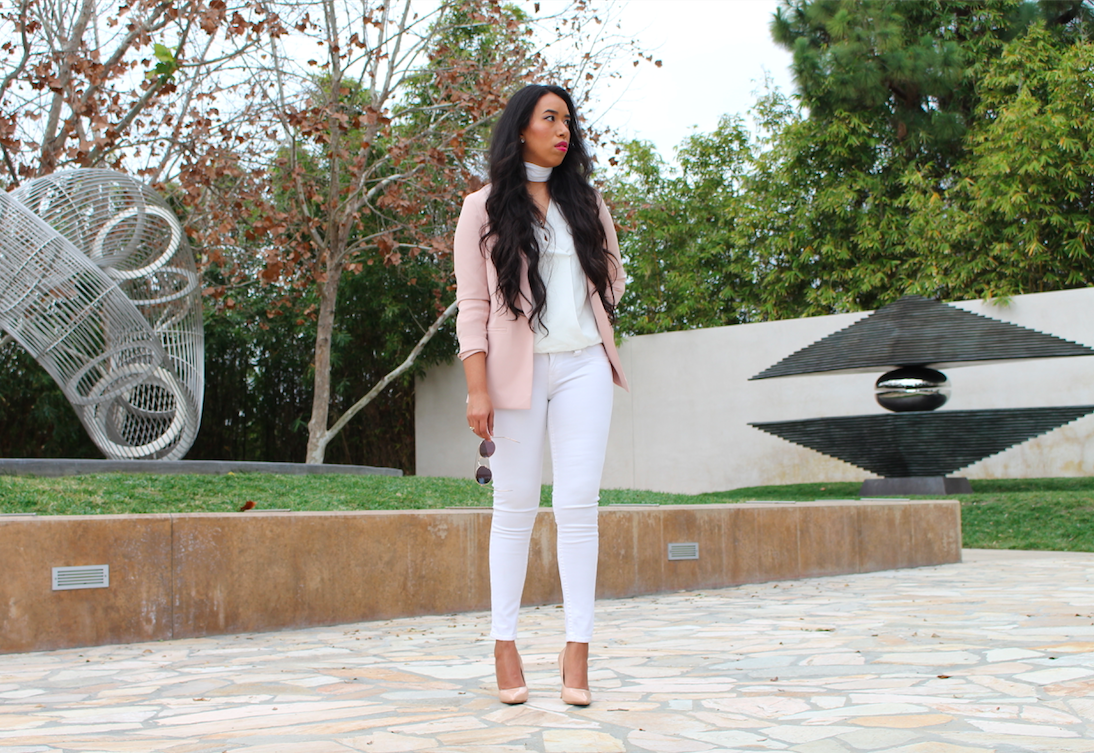 Rose Quartz, Most Commonly Known as Pastel Pink - A subtle pop of color like this years pantone color of the year, Rose Quartz, instantly makes any outfit look prettier and on trend. I wore a pastel pink blazer as my statement piece in an all white outfit. This jacket will definitely be on repeat this whole year. I'm excited to wear it with summer dresses, evening skirts, and of course ripped blue jeans.