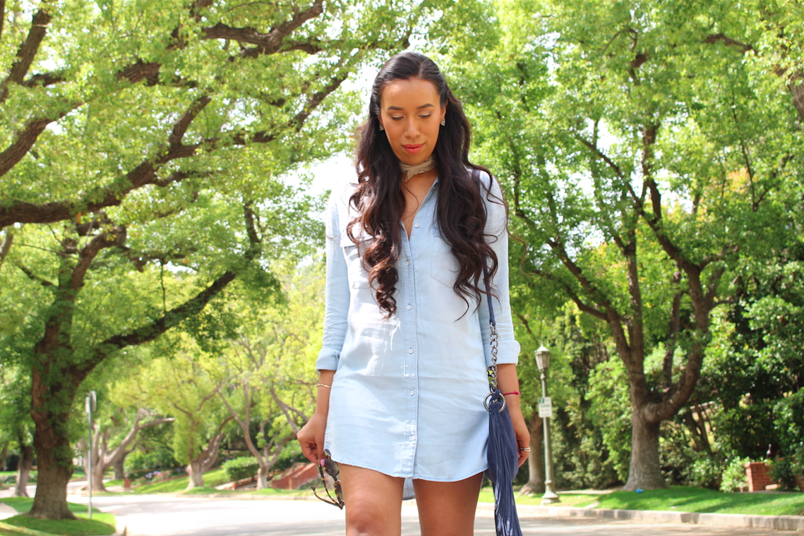 ways to wear a denim dress 13