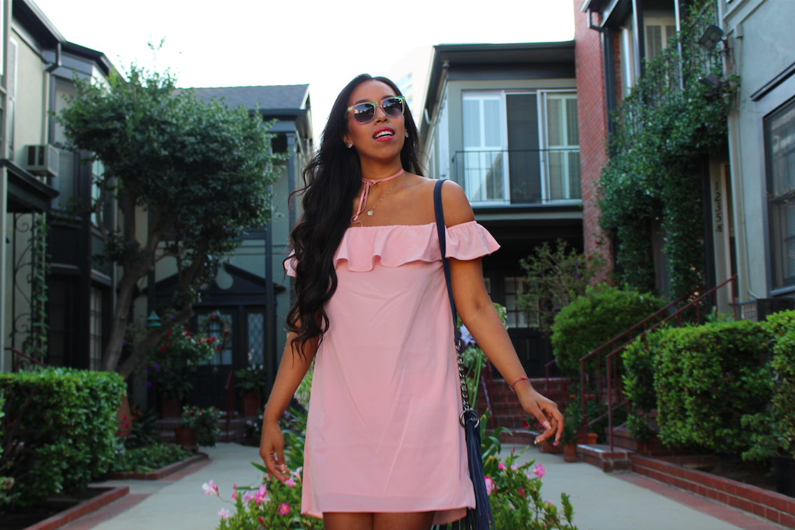 pink-off-the-shoulder-dress-and-booties-look-outfit-11